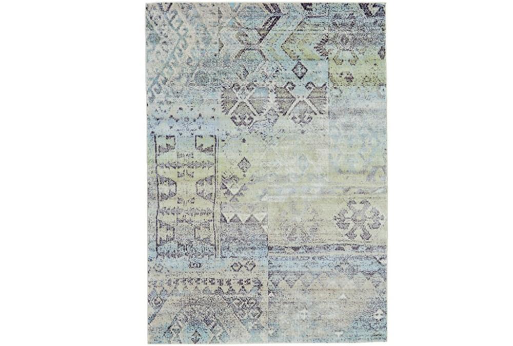 96X132 Rug-Spa And Green Distressed Tribal Pattern