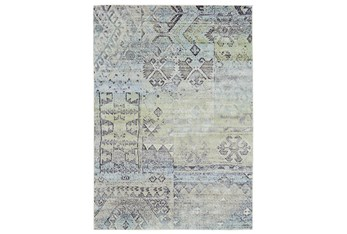 8'x11' Rug-Spa And Green Distressed Tribal Pattern