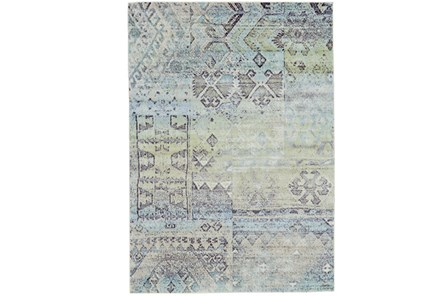 120X158 Rug-Spa And Green Distressed Tribal Pattern - Main