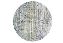 96 Inch Round Rug-Spa And Green Distressed Tribal Pattern