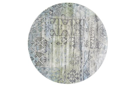 96 Inch Round Rug-Spa And Green Distressed Tribal Pattern - Main