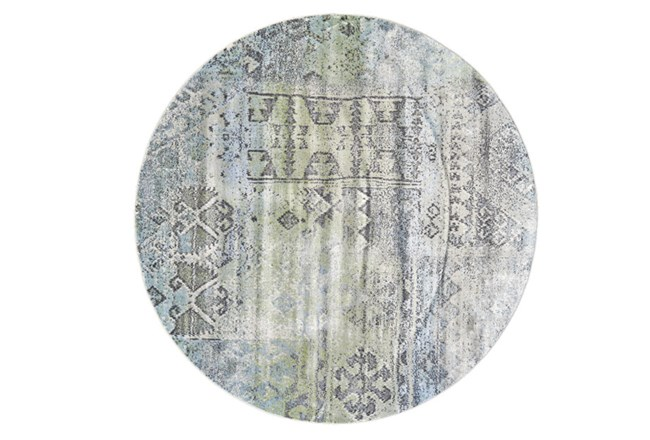 96 Inch Round Rug-Spa And Green Distressed Tribal Pattern - 360