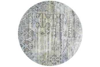 8' Round Rug-Spa And Green Distressed Tribal Pattern