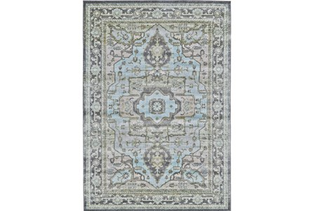 96X132 Rug-Spa And Green Global Traditional Pattern