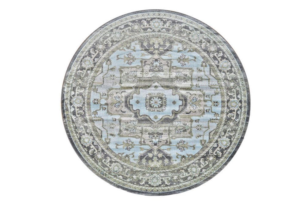 96 Inch Round Rug-Spa And Green Global Traditional Pattern
