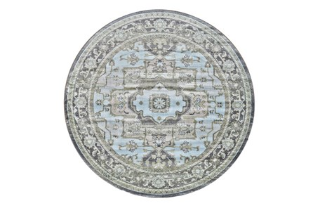 96 Inch Round Rug-Spa And Green Global Traditional Pattern - Main