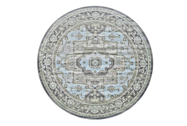 96 Inch Round Rug-Spa And Green Global Traditional Pattern - 360