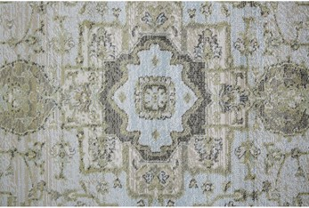 8' Round Rug-Spa And Green Global Traditional Pattern