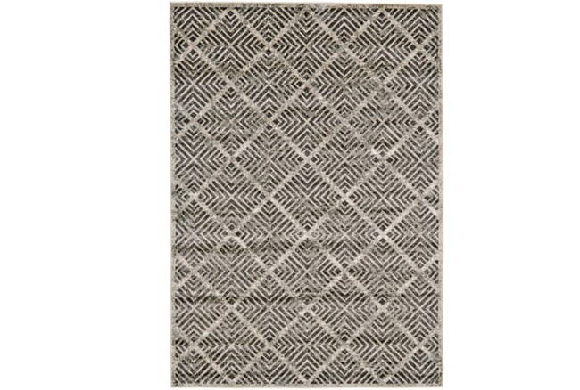 60X96 Rug-Charcoal Distressed Diamonds - 360