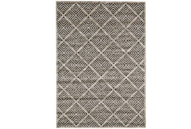 96X132 Rug-Charcoal Distressed Diamonds - 360