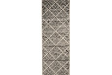 34X94 Rug-Charcoal Distressed Diamonds
