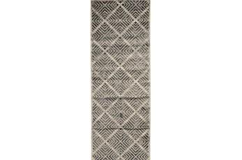 34X94 Rug-Charcoal Distressed Diamonds