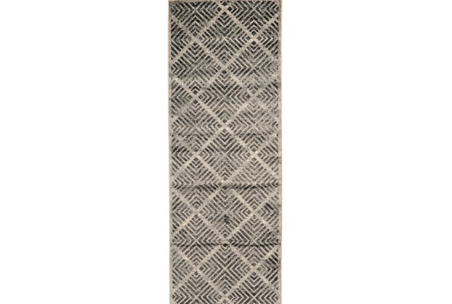 34X94 Rug-Charcoal Distressed Diamonds - 360