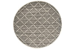 96 Inch Round Rug-Charcoal Distressed Diamonds