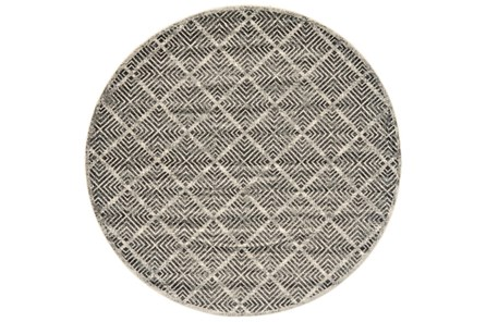 96 Inch Round Rug-Charcoal Distressed Diamonds - Main
