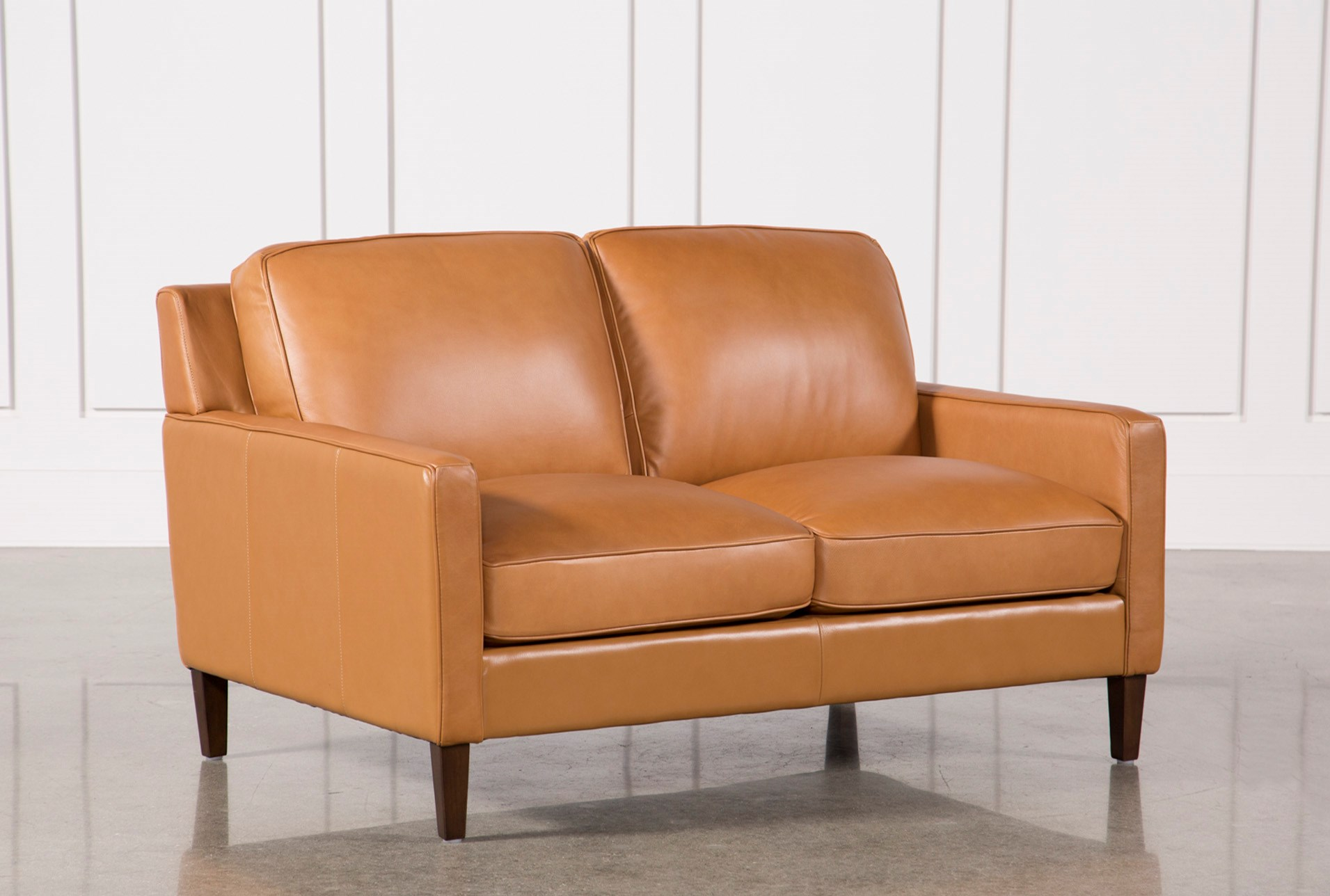Lovely Candace Leather Loveseat | Living Spaces IG21