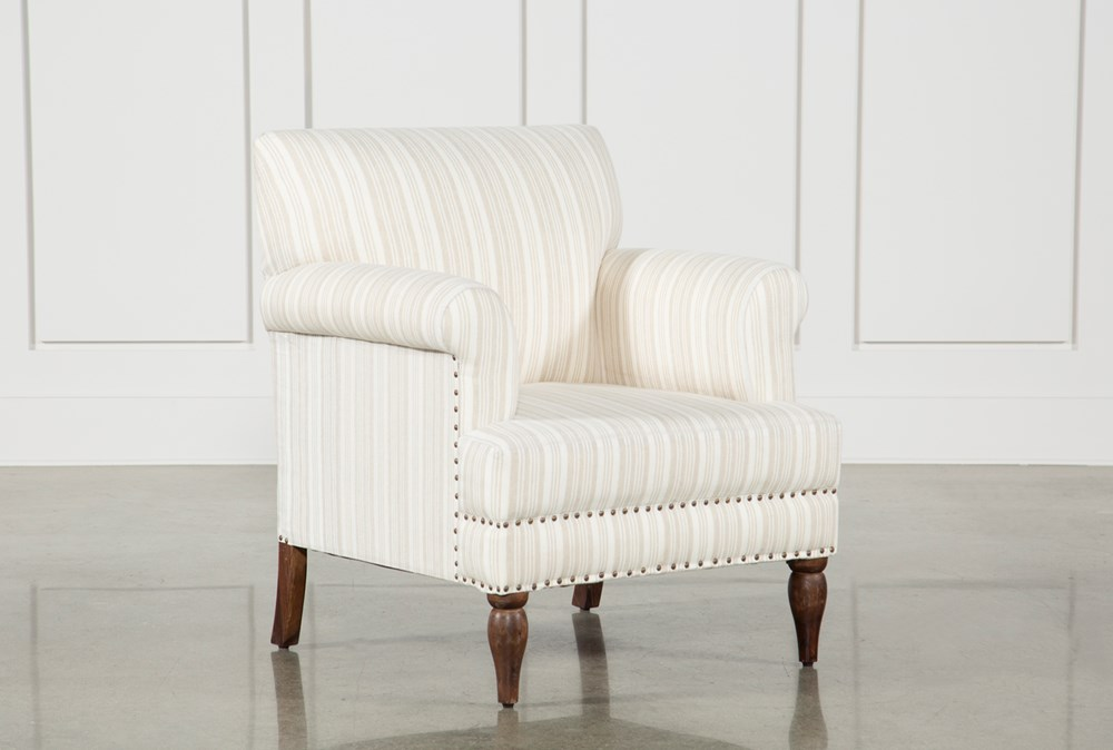Beige Linen Striped Accent Chair