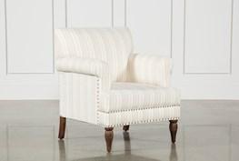 Beige Linen Striped Accent Chair