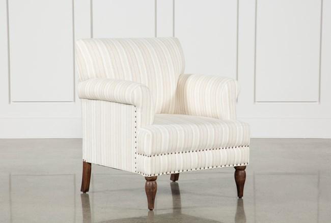 Beige Linen Striped Accent Chair - 360