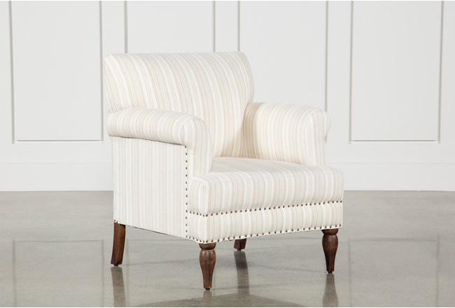 Beige Linen Striped Accent Chair - 360