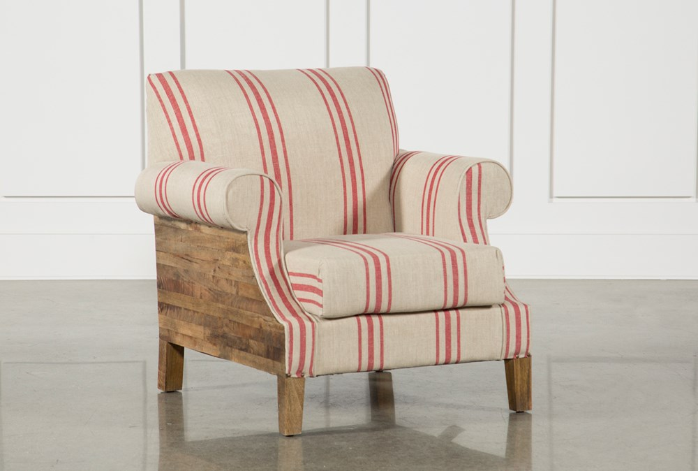 Red Linen Striped Accent Chair