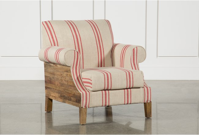 Red Linen Striped Accent Chair - 360