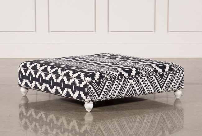 Black & White Print Square Ottoman - 360
