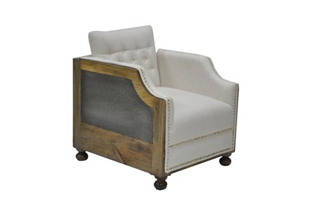 Linen Chair W/Wood Galvanized Sheet