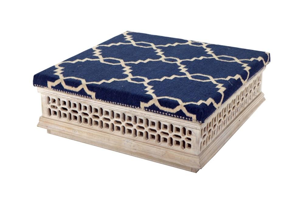 Blue Linen Coffee Ottoman