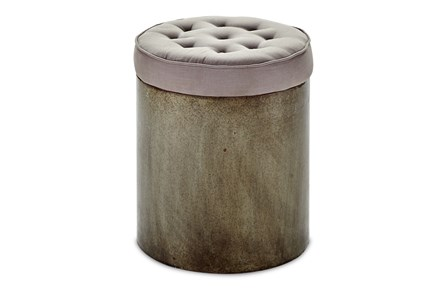 Tall Round Iron Base Lamp Ottoman