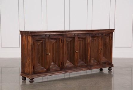 Walnut Finish Crown Moulding Sideboard