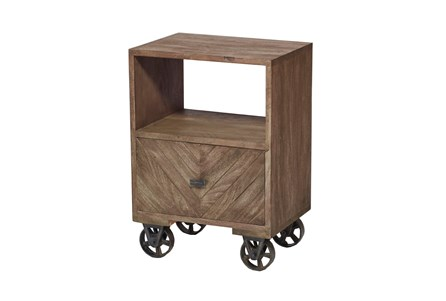 Natural Brown Finish Wheeled Side Cabinet