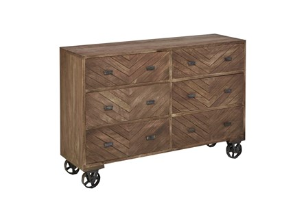 Natural Brown Finish Wheeled Dresser
