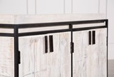 White Wash Finish 4-Door Small Sideboard - Top
