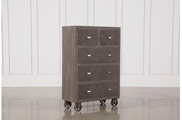 Natural Brown Finish Wheeled Chest