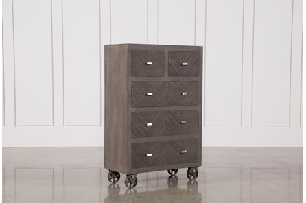 Natural Brown Finish Wheeled Chest - Main