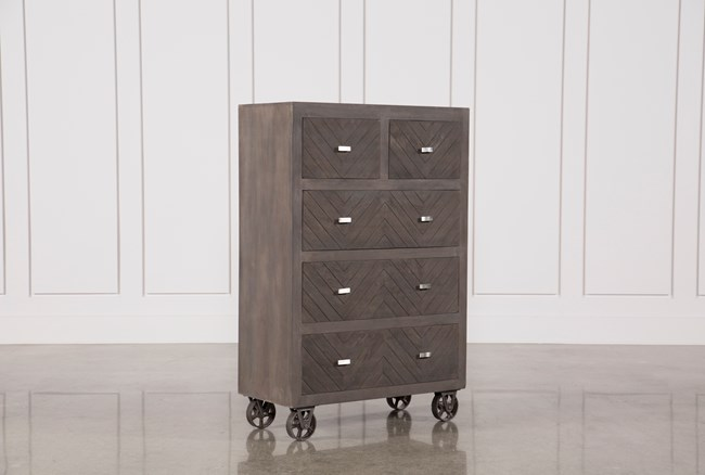 Natural Brown Finish Wheeled Chest - 360