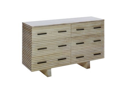 Corrugated White Wash 6-Drawer Dresser