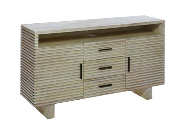 Corrugated White Wash Media Sideboard - 360