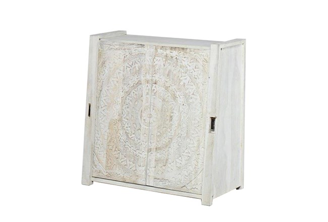 Carved Lace Sliding Door Cabinet Living Spaces