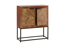Mango Wood Finish 2-Door Cabinet