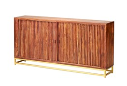 Mango Wood Finish 4-Door Credenza