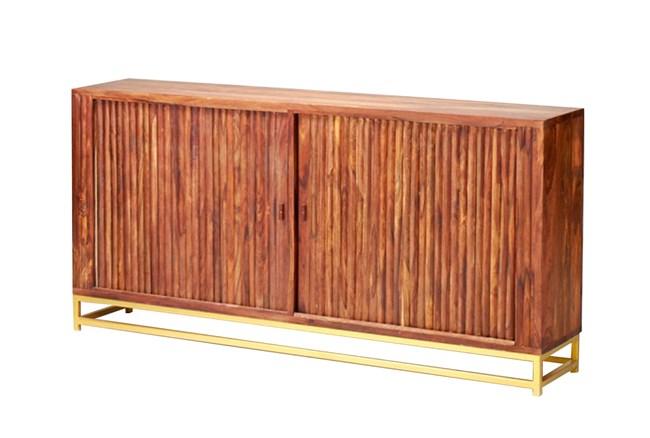 "Mango Wood Finish 4-Door 92"" Credenza - 360"
