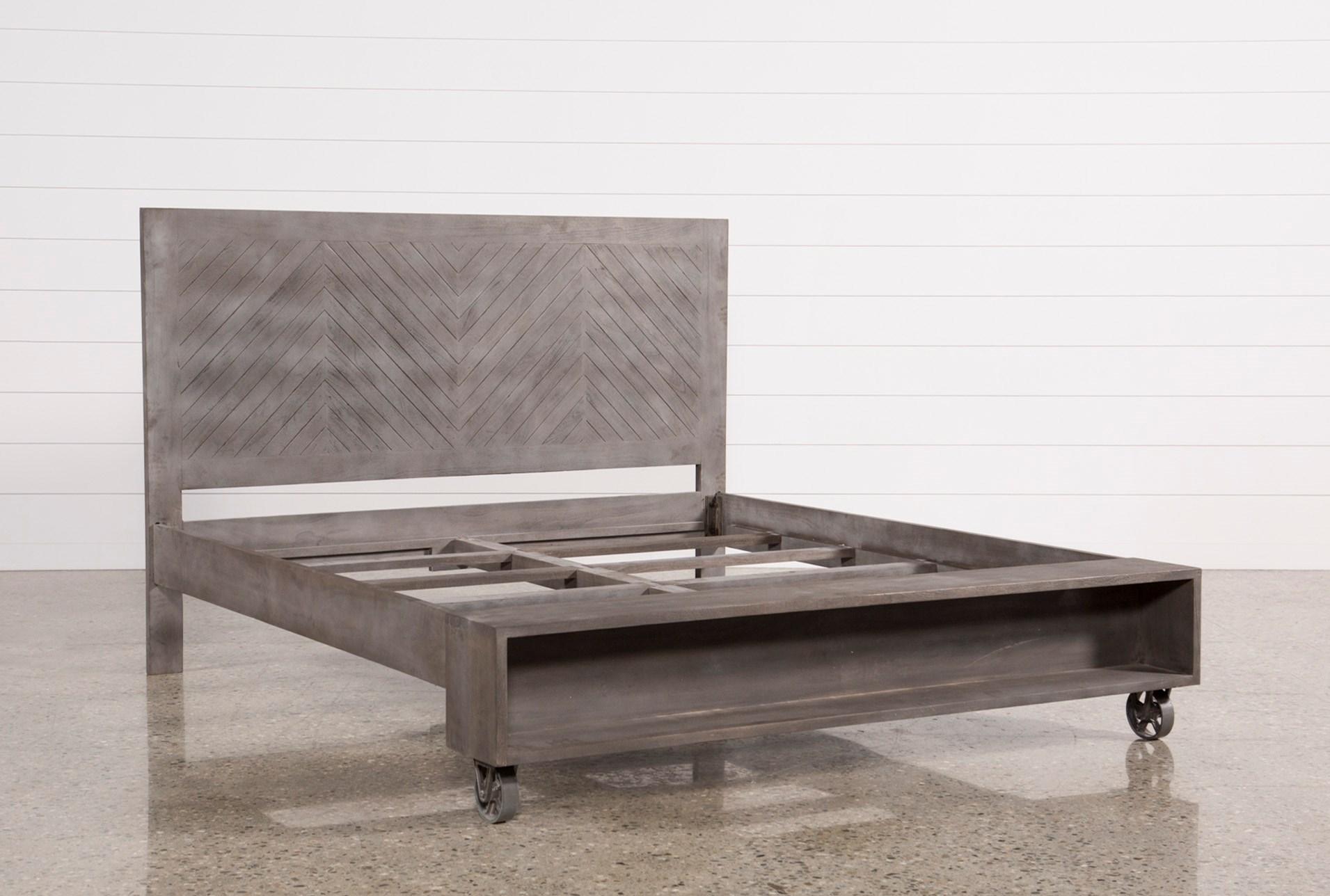 Mango Wood Eastern King Panel Bed W/Wheels | Living Spaces