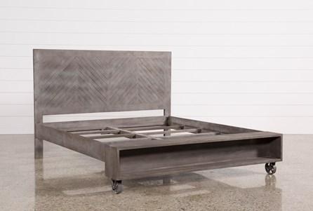 Mango Wood Eastern King Panel Bed W/Wheels