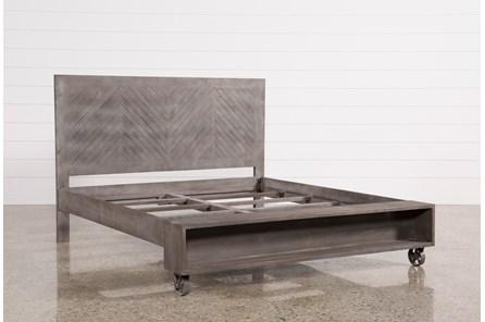 Mango Wood Eastern King Panel Bed W/Wheels - Main