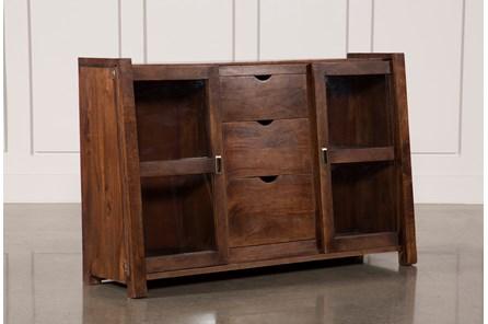 Acacia Wood Slant 3-Drawer Cabinet
