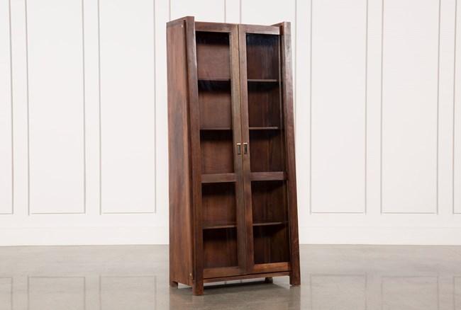 Acacia Wood Slant Tall Cabinet - 360