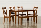 Wendy Carmel 6 Piece Rectangle Dining Set W/Bench - Signature