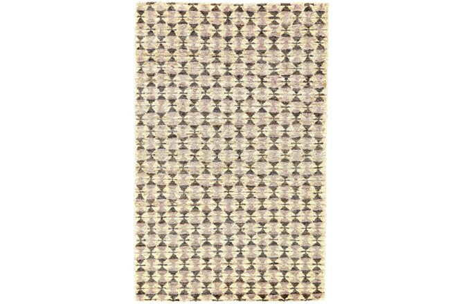 66X102 Rug-Violet Geometric Hand Knotted Jute - 360